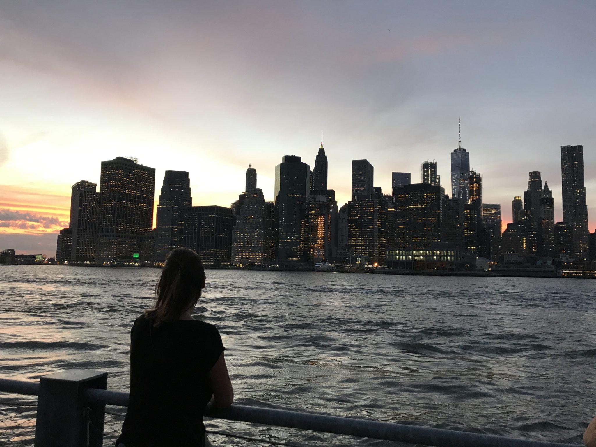 New York et le coucher de soleil depuis Battery Park